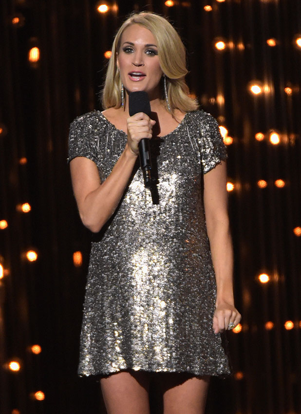 Carrie Underwood onstage during the 48th annual CMA awards at the Bridgestone Arena on November 5, 2014 in Nashville, Tennessee. (Photo by Rick Diamond/Getty Images)
