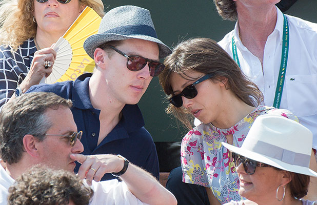 Benedict Cumberbatch and Sophie Hunter attend the Men's Final of Roland Garros French Tennis Open 2014 - Day 15 at Roland Garros on June 8, 2014 in Paris, France.