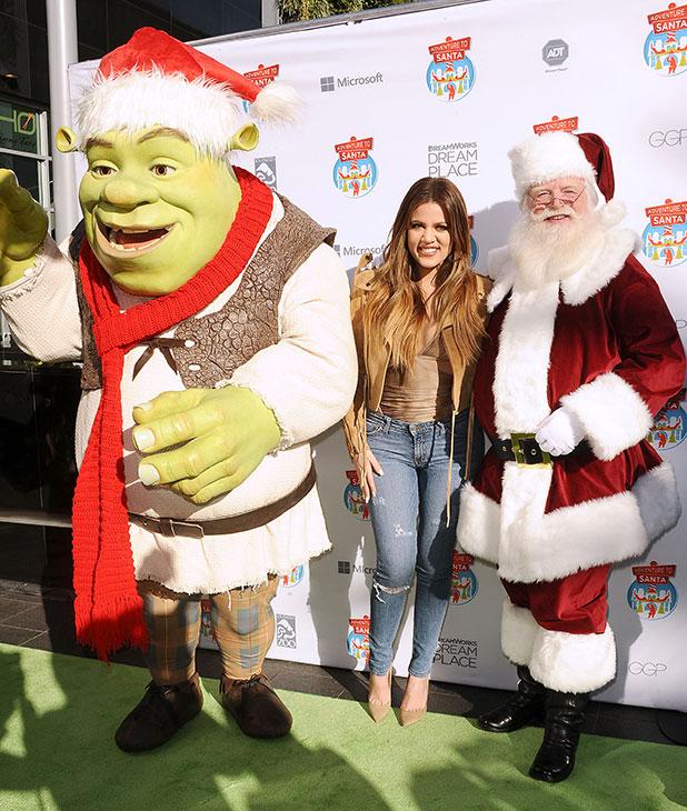 Shrek, Khloe Kardashian and Santa Claus visit 'Adventure To Santa' A DreamWorks DreamPlace at Glendale Galleria on November 6, 2014 in Glendale, California. (Photo by Jason LaVeris/FilmMagic)