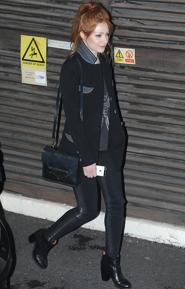 Nicola Roberts, departures from the 'X Factor' studios after the live show, 2 November 2014