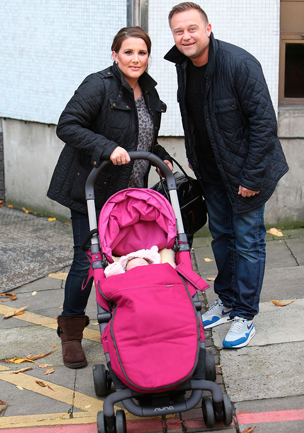 Sam Bailey and husband Craig Pearson with baby Miley outside Loose Women'. Shown on ITV1 HD, 7 Jovember 2014