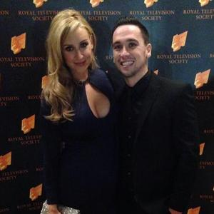 Catherine Tyldesley and fiancé Tom Pitfield arrive at the 2014 Royal Television Society North West Awards at the Hilton Deansgate Manchester Hotel, 15 November 2015