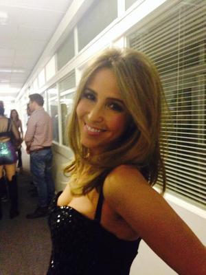 S Club 7's Rachel Stevens all smiles backstage at Children In Need, 14 November 2014