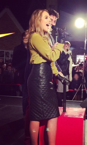 TOWIE's James 'Arg' Argent and Lydia Bright turn on Christmas lights at Freeport Braintree Outlet Shopping Village in Braintree, Essex - 13 November. Edited pic.