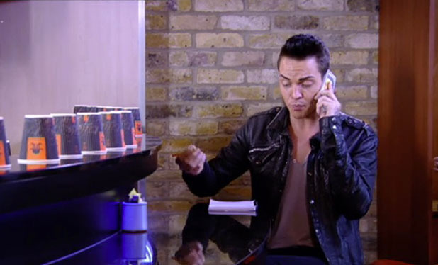 TOWIE's Bobby Cole Norris has a picture of himself on his mobile phone, 12 November 2014