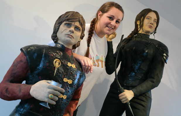 Lara Clarke with cake models of Jennifer Lawrence and Tyrion Lannister