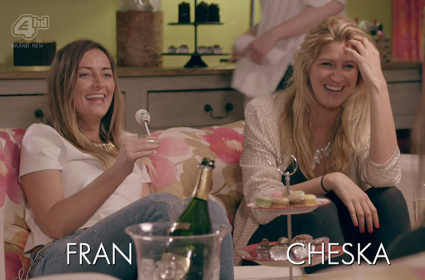 Fran and Cheska treat Binky to afternoon tea after her break up wityh Alex on 'Made In Chelsea', shown on ITV1 HD. 6 May 2014.