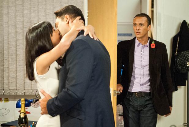 Emmerdale, Jai catches Priya and Rakesh kissing, Wed 12 Nov
