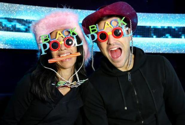Mark Wright and Karen Haeur wear Blackpool glasses ahead of Strictly Come Dancing - 14 Nov 2014