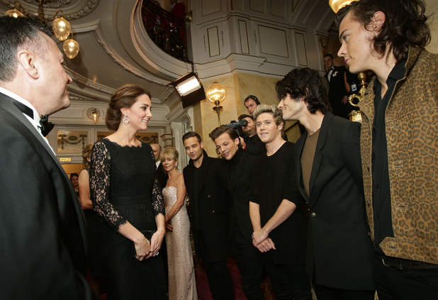 Catherine, Duchess of Cambridge meets boy band One Direction at The Royal Variety Performance at the London Palladium on November 13, 2014 in London, England.