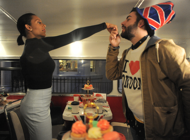 Mel B and X Factor finalist Andrea enjoy afternoon tea and champagne while touring London on a Route Master bus - 13 November.