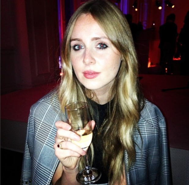 Diana Vickers raises a glass of champagne to her show Give Out Girls, 4 November 2014