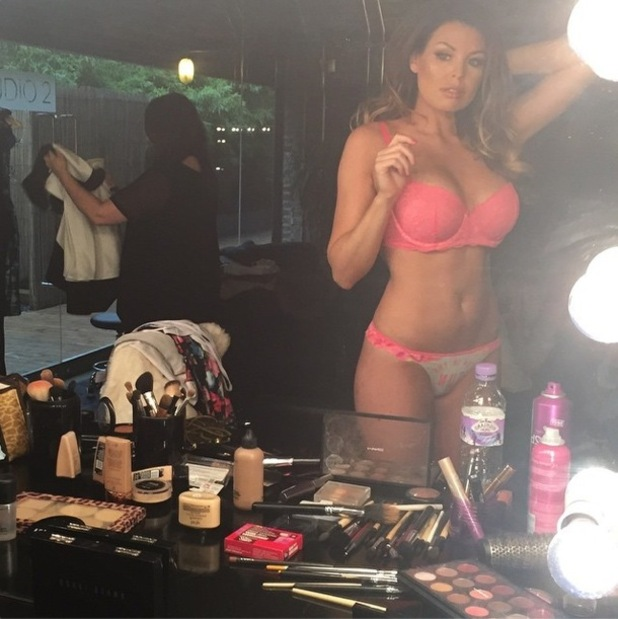 TOWIE's Jessica Wright poses with a dressing table filled with make-up - 11 November 2014
