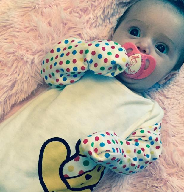 X Factor's Sam Bailey shares new picture of baby Miley in a Children in Need babygro - 14 Nov 2014