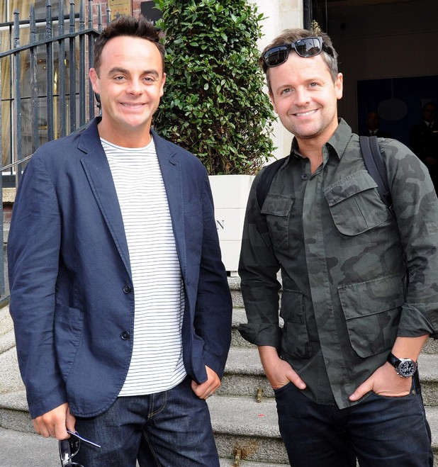 TV Presenters Ant & Dec leaving their hotel and heading to the 3 Arena for their show 'Saturday Night Takeaway.' 12/09/2014