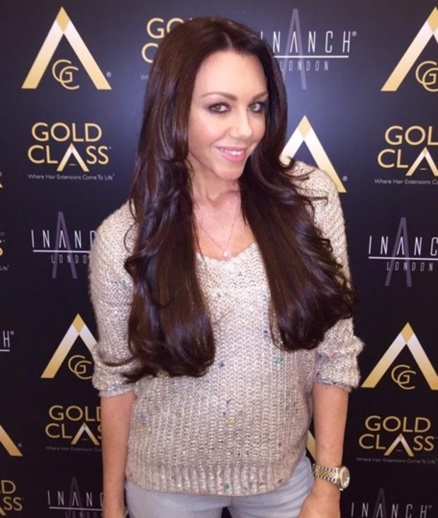 Michelle Heaton shows off her new hair extensions, courtesy of Inanch London hair salon - 13 November 2014