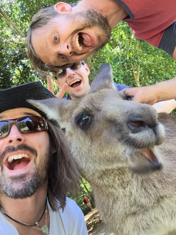 British tourists take a selfie with kangaroo, Steve Urwin's Australia Zoo, Australia October 2014