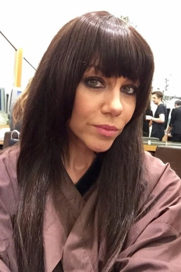 Michelle Heaton tries out a fake fringe while visiting Inanch London hair salon - 12 November 2014