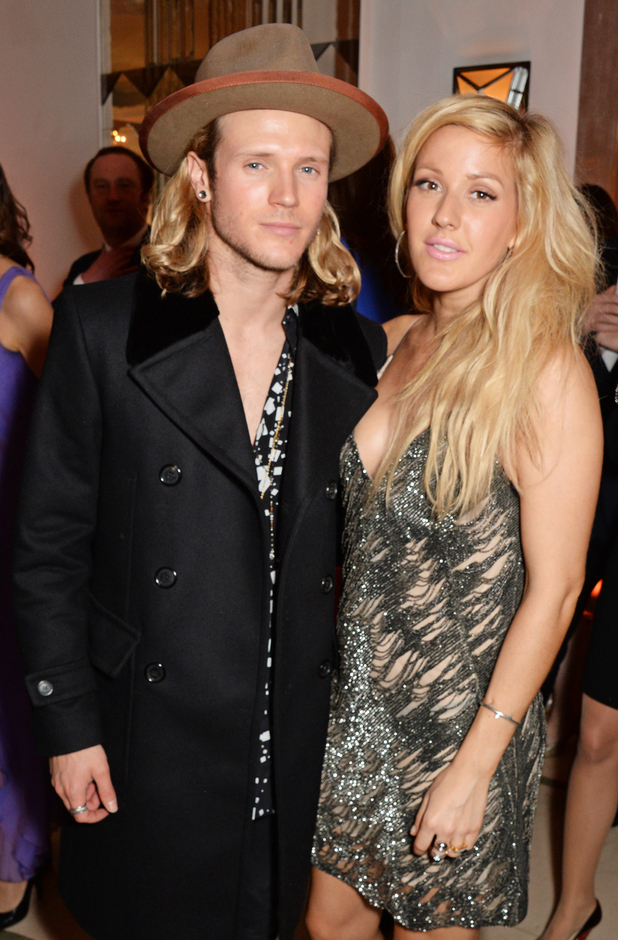 Dougie Poynter and Ellie Goulding pose at the Harper's Bazaar Women Of The Year awards 2014 at Claridge's Hotel on November 4, 2014 in London, England.
