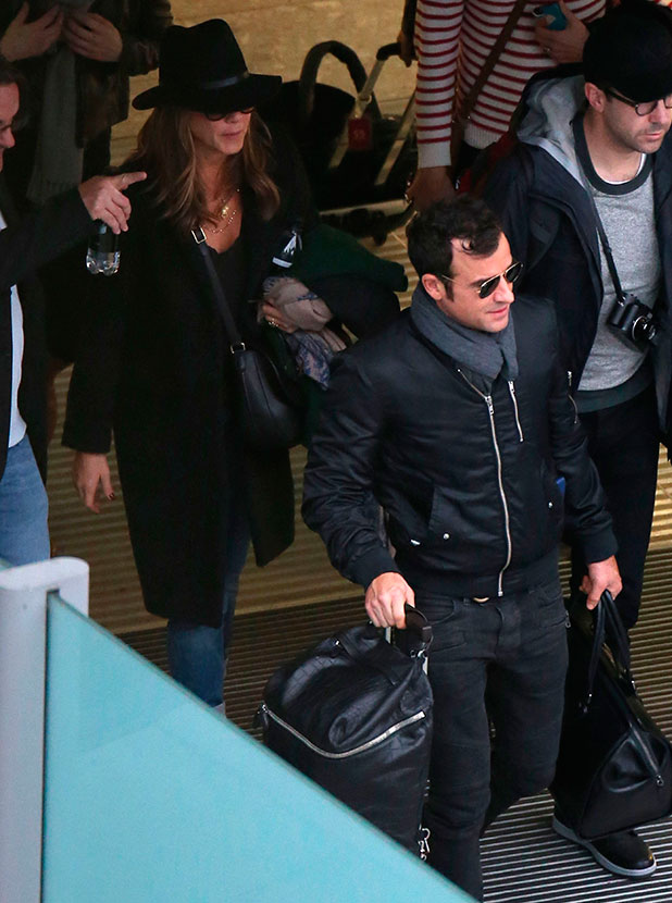 Jennifer Aniston and Justin Theroux arriving at Heathrow Airport, London, Britain - 11 Nov 2014