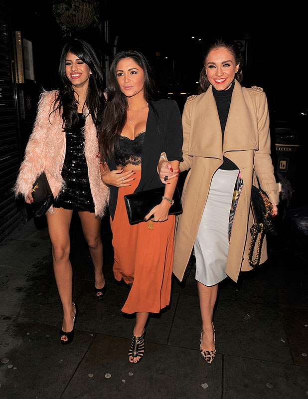 Casey Batchelor enjoys a night out in Soho with fellow reality TV stars Jasmin Walia and Vicky Pattison, 11 November 2014