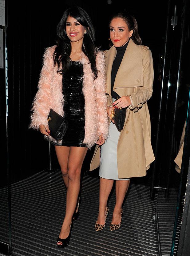 Casey Batchelor enjoys a night out in Soho with fellow reality TV stars Jasmin Walia and Vicky Pattison, 11 November 2014