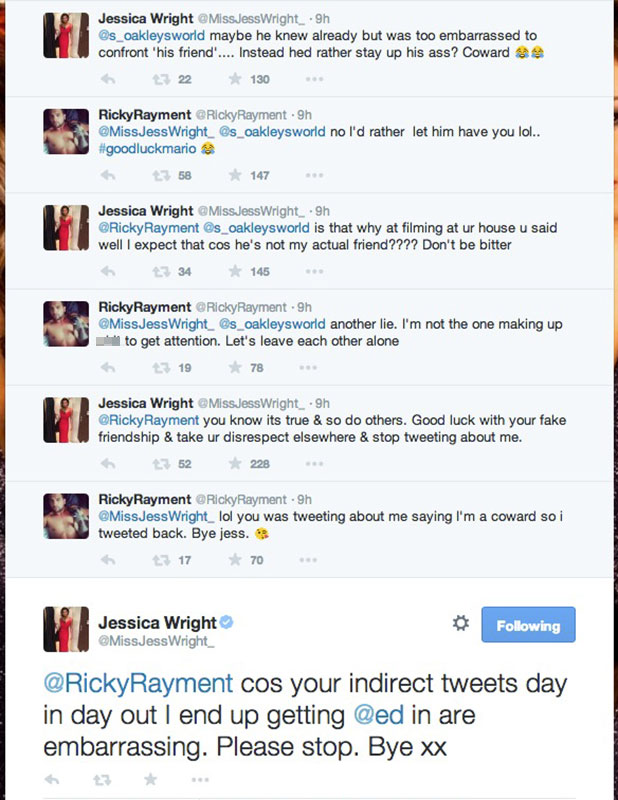 TOWIE's Jessica and Ricky row on Twitter after series finale showing their split, 12 November 2014