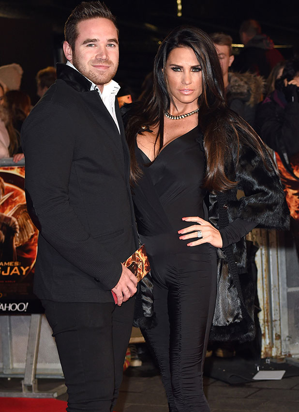 Kieran Hayler and Katie Price attend the World Premiere of 'The Hunger Games: Mockingjay Part 1' at Odeon Leicester Square on November 10, 2014 in London, England. (Photo by Karwai Tang/WireImage)