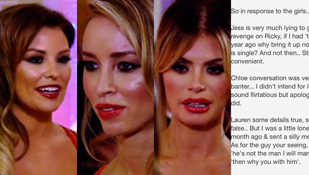 TOWIE finale: Chloe Sims, Jessica Wright and Lauren Pope talk about Mario Falcone, aired 12 November 2014 / Mario responds to their claims via Twitter.