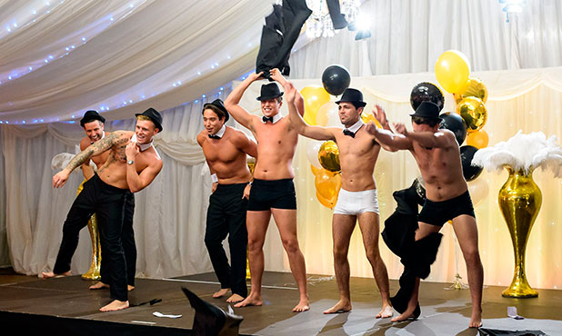 Elliott Wright, Tommy Mallet, James Lock, Lewis Bloor, Tom Pearce and James Bennewith rehearse 'Full Monty' Routine 9 Nov 2014