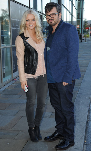 S Club 7's Hannah and Paul leave the BBC Breakfast Studio, Media City, Manchester after appearing on the show. 18 November 2014.