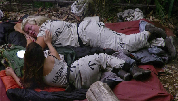 Gemma Collins and Nadia Forde in the 'Celebrity Slammer' on 'I'm a Celebrity... Get Me Out of Here!' Shown on ITV1 HD. 19 November 2014.