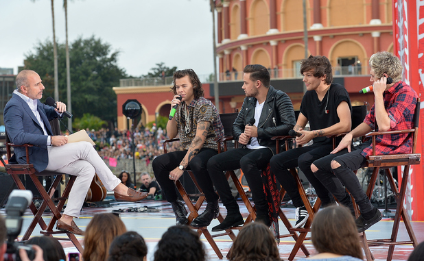 One Direction appear on NBC's Today Show to release their new album 'Four at Universal City Walk At Universal Orlando on November 17, 2014 in Orlando, Florida.