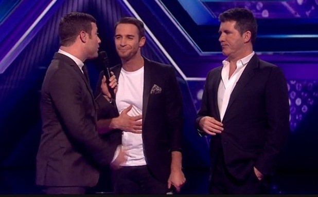 X Factor results show - Jay James Picton and Simon Cowell