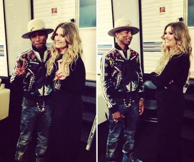 Ella Henderson meets Pharrell on set of The Voice US - 18 November 2014.