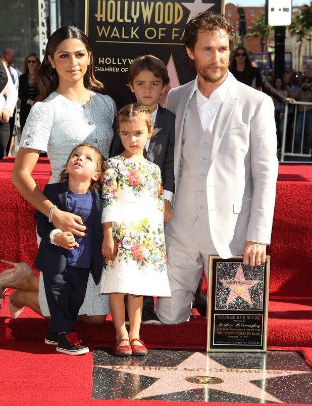 Matthew McConaughey, his wife Camila Alves McConaughey and their children attend the ceremony honoring Matthew McConaughey with a Star on The Hollywood Walk of Fame on November 17, 2014 in Hollywood, California.