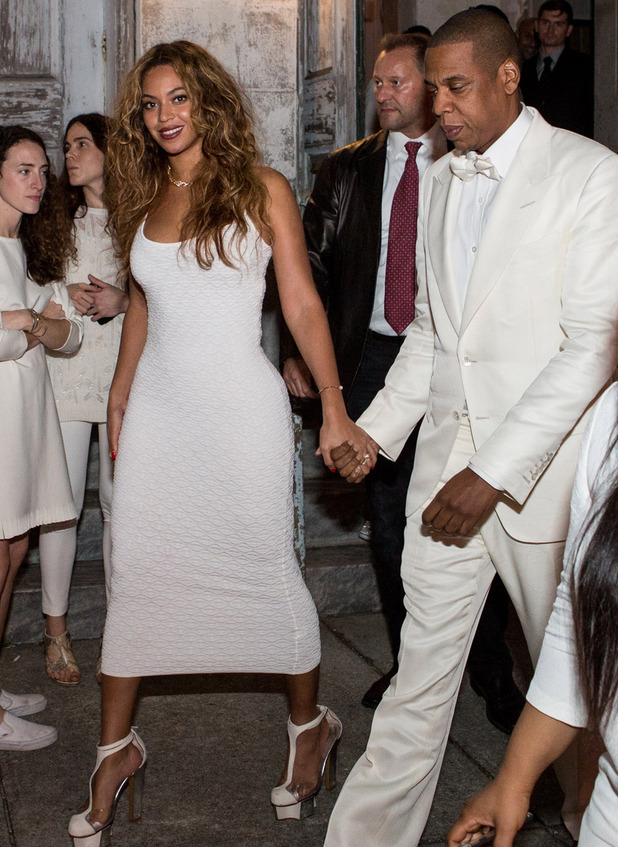 Beyonce Knowles (L) and Jay Z depart the Marigny Opera House following the wedding of Solange Knowles and Alan Ferguson on November 16, 2014
