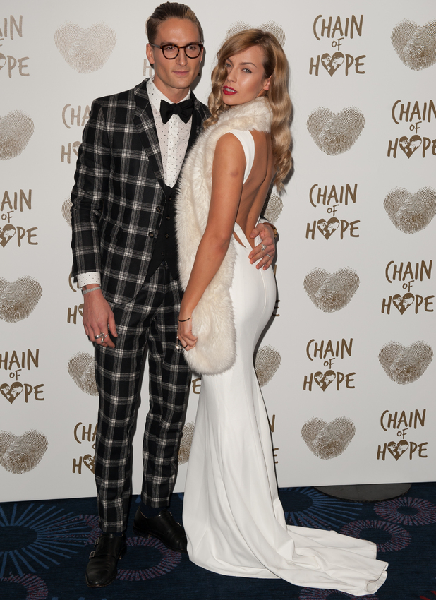Oliver Proudlock and Emma Louise Connelly attend the Chain of Hope's 2014 Gala Ball at the Grosvenor House hotel, 21/11/2014