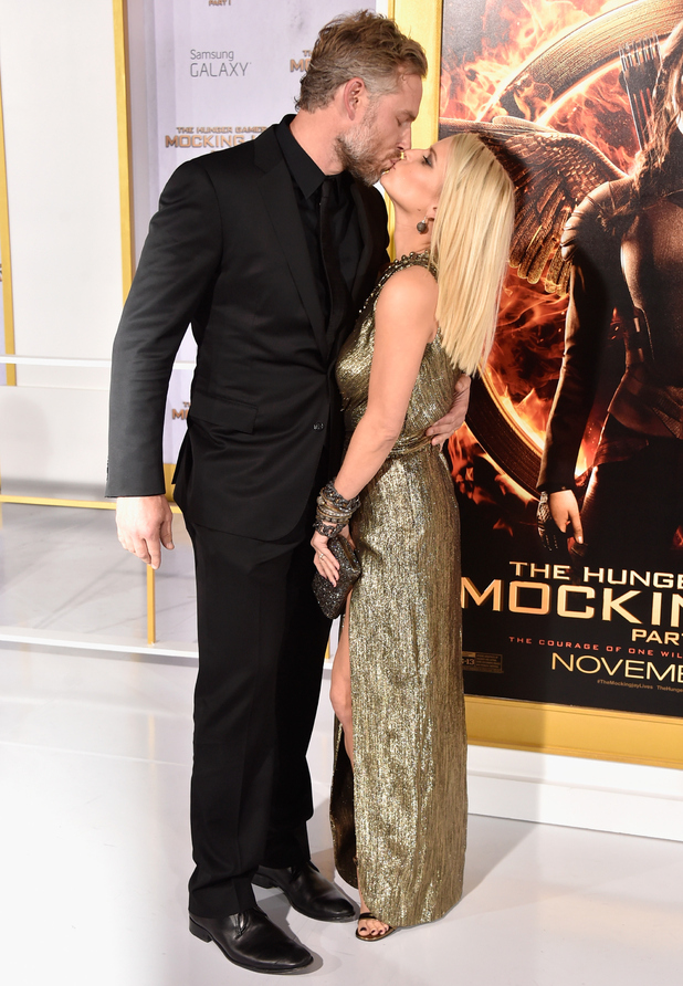 Eric Johnson and Jessica Simpson attend the premiere of Lionsgate's 'The Hunger Games: Mockingjay - Part 1' at Nokia Theatre L.A. Live on November 17, 2014 in Los Angeles, California.