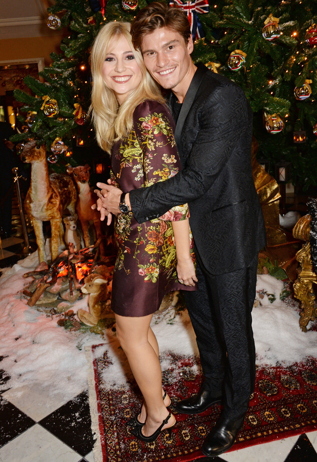 Pixie Lott and Oliver Cheshire at Claridges and Dolce & Gabbana Christmas Tree Party, London 19 November