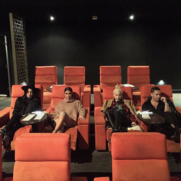 Kim Kardashian and her friends watch Mockingjay - Part 1 in a private cinema in Australia, 19 November 2014