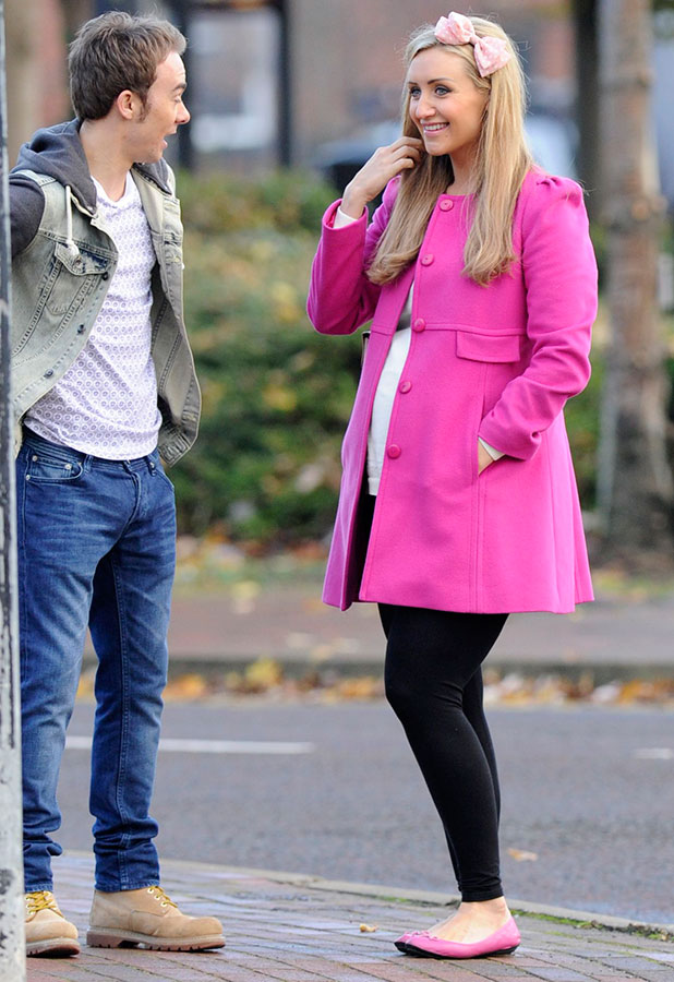 'Coronation Street' TV series filming, Manchester, Britain - 19 Nov 2014 Jack P Shepherd and Catherine Tyldesley