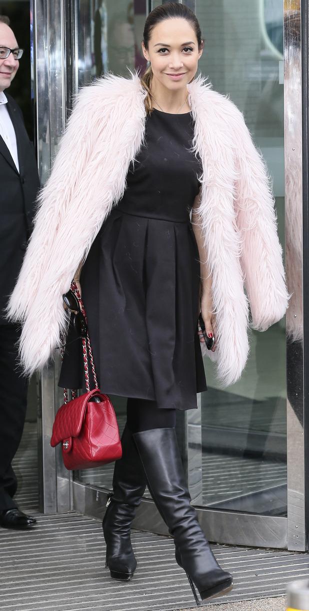 Myleene Klass outside ITV studio, 28/11/14