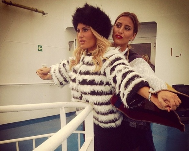 Ferne McCann and Danielle Armstrong on the ferry to France 26 November