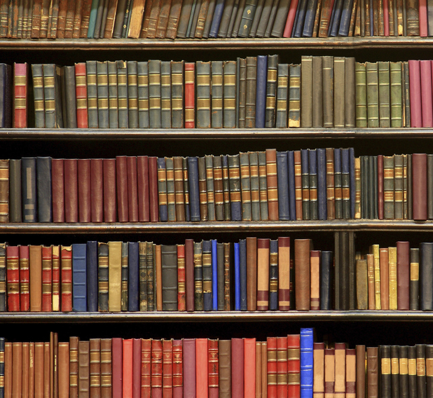 Shelf of books in library