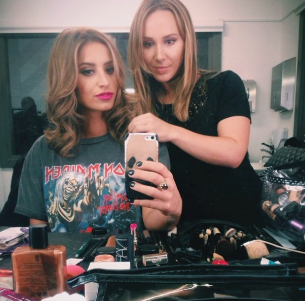 Ferne McCann poses with make-up artist Lyndsey Harrison as she has hair cut, 17 November 2014
