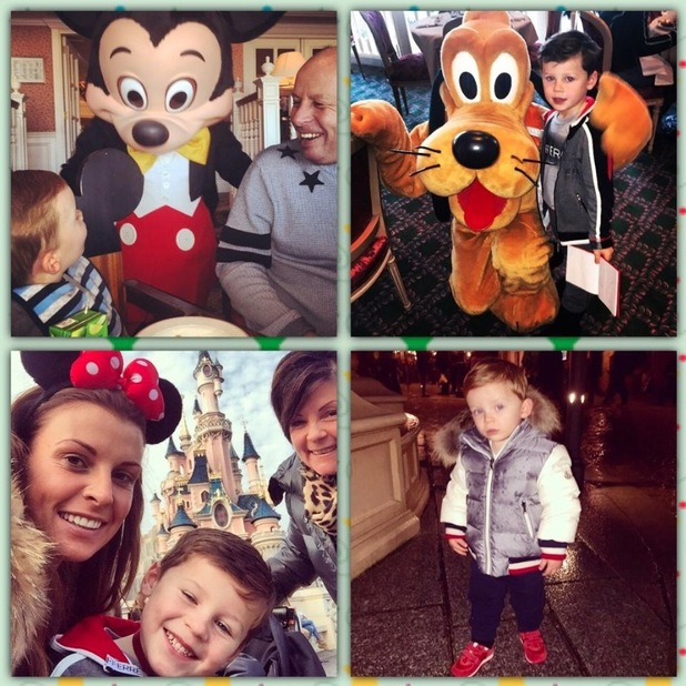 Coleen Rooney visits Disneyland Paris with Kai, Klay and her parents Colette and Tony - 26 Nov 2014