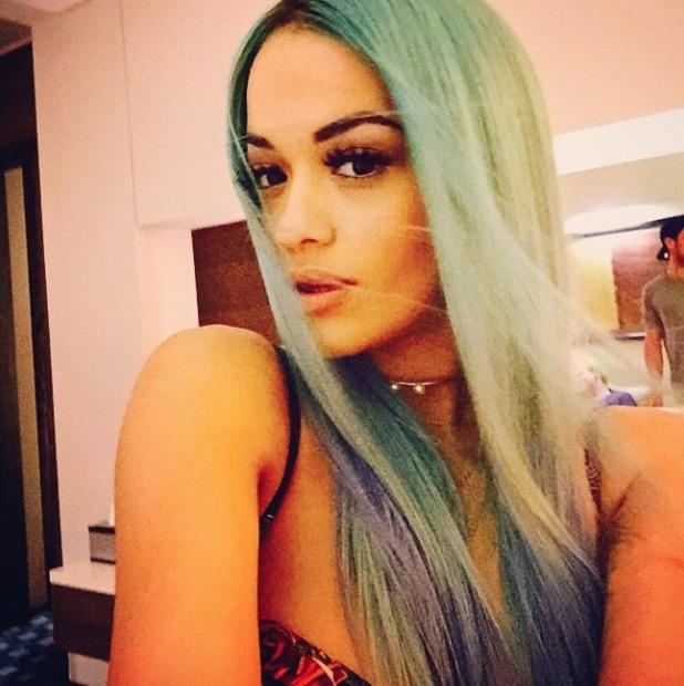 Rita Ora revisits blue hair for Adidas store opening in Abu Dhabi, 22 November 2014