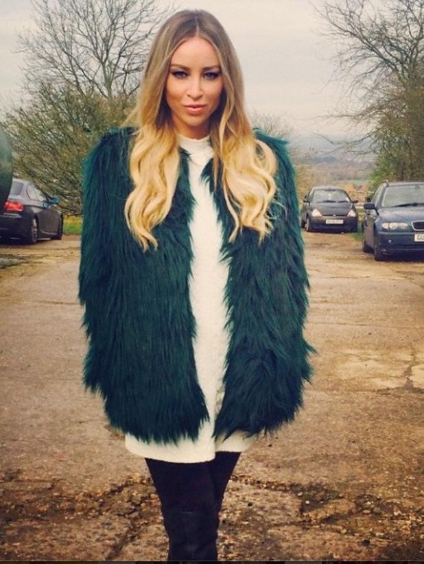 Lauren Pope in Bershka coat, Instagram, 26/11/14