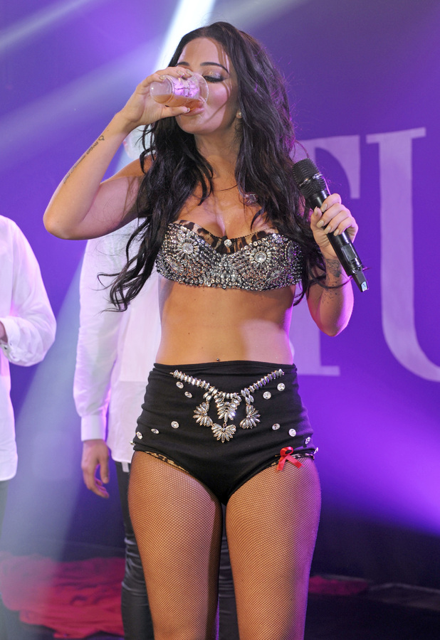 Tulisa performs live at G-A-Y and downs a pint of beer at the end of her set, 29 November 2014